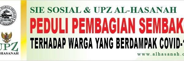 Sie Sosial dan UPZ Al-Hasanah dalam memberikan bantuan kepada warga yang terdampak Covid-19